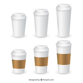 Coleção de copos de café realista