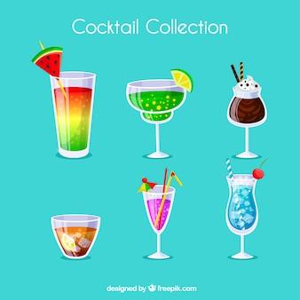 Coleção de coquetéis com diferentes sucos