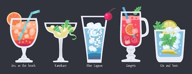 Coleção de coquetéis de frutas alcoólicas. festa de verão na praia bebidas isoladas