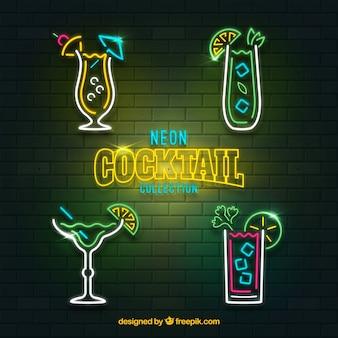 Coleção de coquetel com estilo de luzes de néon