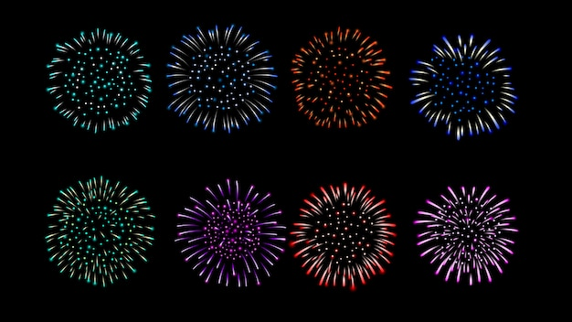 Coleção de cor múltipla de vetor de fogo de artifício.
