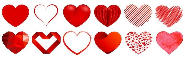 Coleção de coração com estilos diferentes