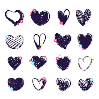 Coleção de coração desenhada à mão