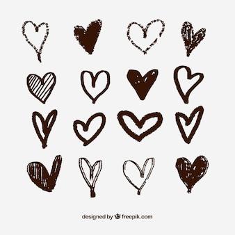 Coleção de coração desenhada mão