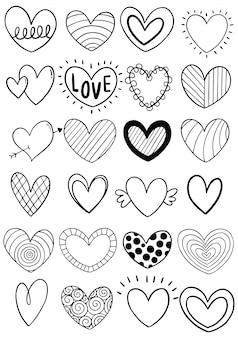 Coleção de coração mão desenhada doodle
