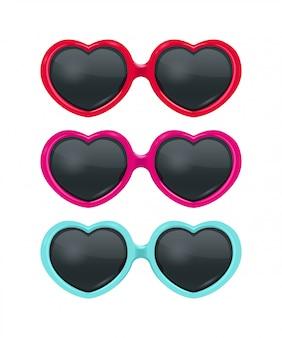 Coleção de coração realista óculos de sol