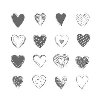 Coleção de corações cinzas desenhados