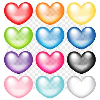 Coleção de corações coloridos transparentes de vetor