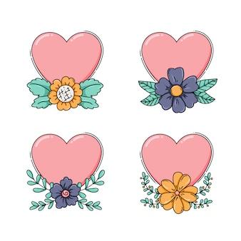 Coleção de corações com flores