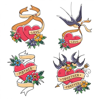 Coleção de corações com pássaros. estilo da velha escola. dois corações perfurados pela flecha. corações com flor e andorinha.