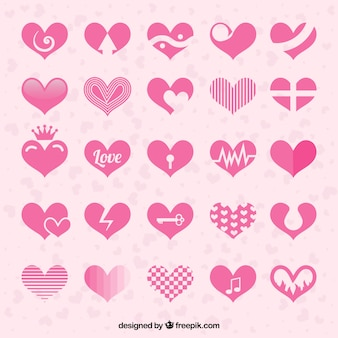 Coleção de corações cor de rosa abstratas