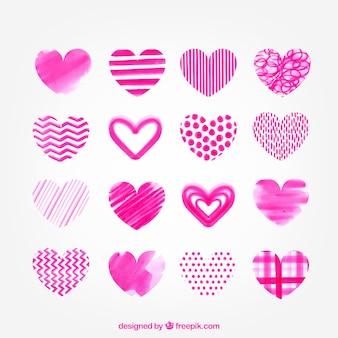 Coleção de corações cor de rosa aquarela