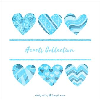 Coleção de corações de aguarela