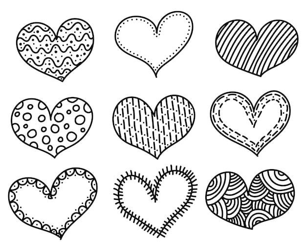 Coleção de corações de doodle