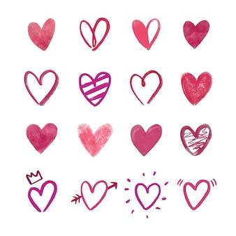 Coleção de corações desenhados à mão