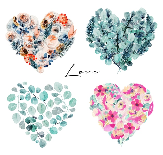Coleção de corações florais em aquarela