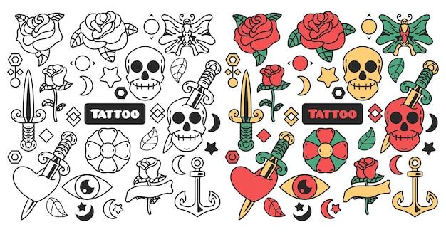Coleção de cores de tatuagem e rabiscos monocromáticos, conjunto de arte de linha de tatuagem