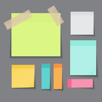 Coleção de cores diferentes de nota de papel colante