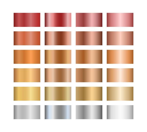 Coleção de cores gradientes metálicas, ilustração