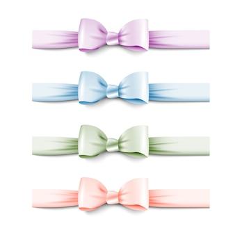 Coleção de cores pastel arcos de seda com fitas