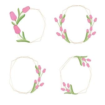 Coleção de coroa de flores de tulipa rosa dourada