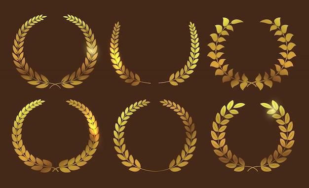 Coleção de coroa de louro dourado