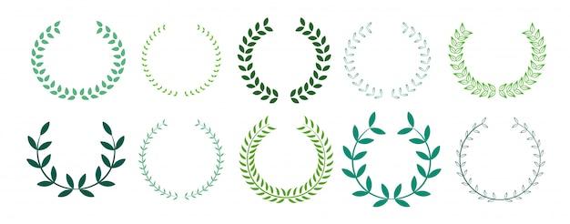 Coleção de coroa de louros de folhas verdes