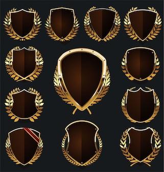 Coleção de coroa de louros e escudo de ouro e marrom