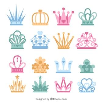 Coleção de coroas coloridas princesa em design plano