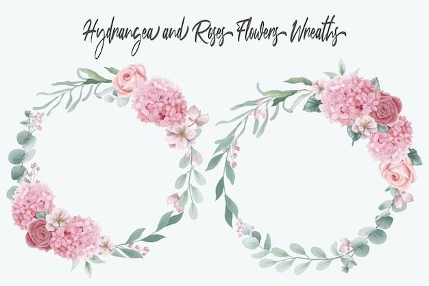 Coleção de coroas de flores de hortênsias e rosas em aquarela