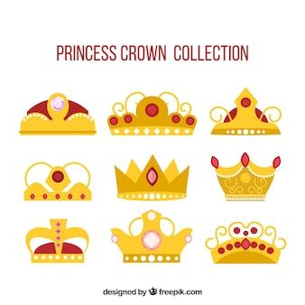 Coleção de coroas de ouro com pedras preciosas