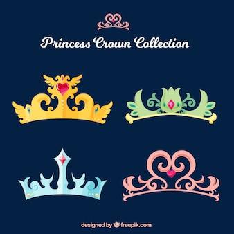 Coleção de coroas de princesa elegante