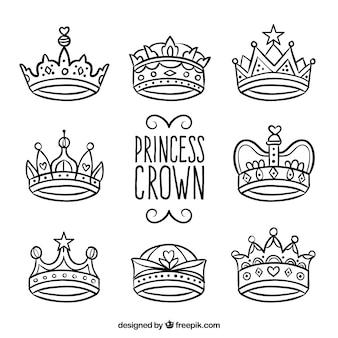 Coleção de coroas de princesa tiradas à mão