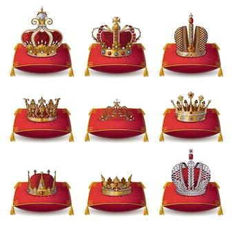 Coleção de coroas de reis e rainha