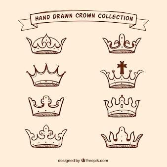 Coleção de coroas desenhadas à mão
