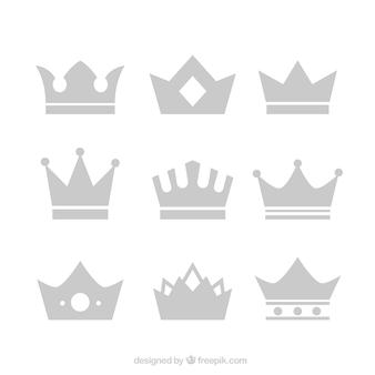 Coleção de coroas em desenho plano