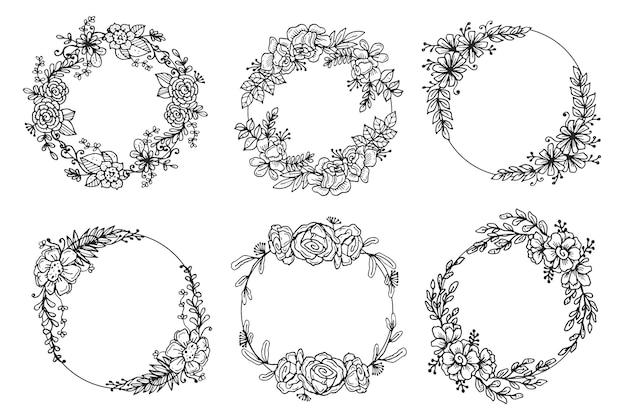 Coleção de coroas florais desenhadas à mão