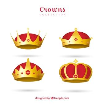Coleção de coroas vermelhas e douradas em design realista
