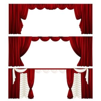 Coleção de cortinas de teatro diferentes. cortinas de veludo vermelho. cenas.
