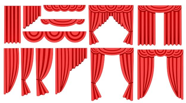 Coleção de cortinas e cortinas de seda vermelha de luxo. decoração de interior . ícone. ilustração em fundo branco
