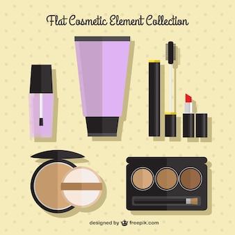 Coleção de cosméticos plana