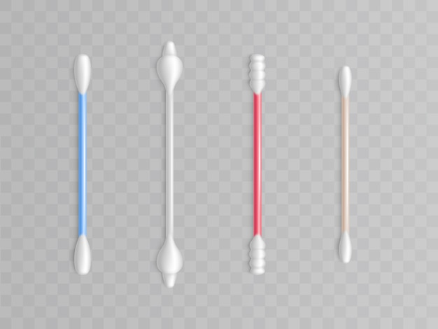 Coleção de cotonetes - diferentes formas e tipos de limpeza. produtos de higiene realistas
