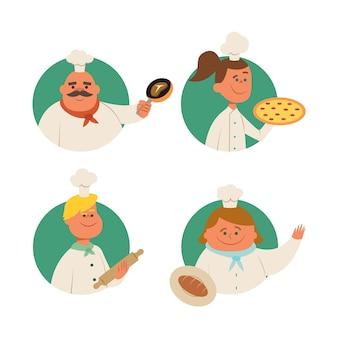 Coleção de cozinheiros de comida