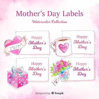 Coleção de crachá aquarela dia das mães