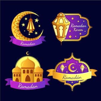 Coleção de crachá com o ramadã