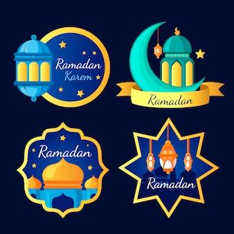 Coleção de crachá com tema do ramadã