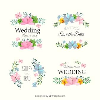 Coleção de crachá de casamento