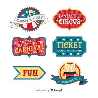Coleção de crachá de circo carnaval