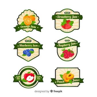 Coleção de crachá de frutas modernas