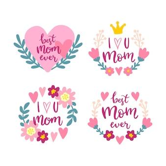 Coleção de crachá de mão desenhada dia das mães